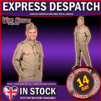 FANCY DRESS COSTUME * DELUXE 1940'S MENS GI ARMY UNIFORM XL